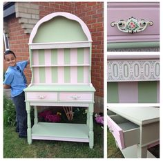 Painted Vintage Dresser Pink & Green Www.facebook.com/skylarbellepaintedfurniture Cabinet Furniture, Painted Furniture, Vintage Dressers, Pink And Green, Cabinets, Stool, Facebook, Home Decor, Armoires