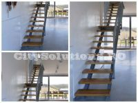 Interior stairs with two side stringers to support the steps of wood, metal or glass. Interior stairs made of painted steel. Glass Stairs, Floating Stairs, Wooden Stairs, Solid Shapes, Interior Stairs, Interior Decorating, Interior Design, Wood Interiors, Spiral Staircase