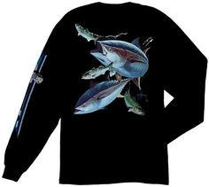 5ebf8407 Guy Harvey Hungry Tuna Men's Back-Print Long Sleeve Tee w/Pocket in Aqua  Blue