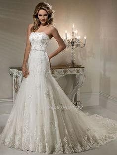 A-Line Straight Neckline Strapless LAce Applique Tulle over Satin Wedding Dress Style Natasha