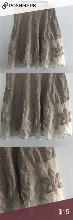 Monsoon Tan Embroidered Sheer Inset Hemline Skirt Gorgeous cotton silk blend fully lined  skirt. Waist 34 in. Length. Approx 26 in. European sized please note measurements. Monsoon Skirts Midi