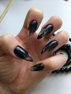 30 große Stiletto Nail Art Design-Ideen 1 – Long Stiletto Nails, You can collect images you discovered organize them, add your own ideas to your collections and share with other people. Goth Nails, Prom Nails, My Nails, Ongles Goth, Acrylic Nails Stiletto, Pointy Black Nails, Summer Stiletto Nails, Black Acrylic Nails, Black Stilettos