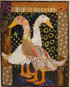 Runner Ducks Look Left and Right - Ruth B. McDowell - 2012 One of my favourites -- for the neutral background and borders and the floral but contrasting geese!