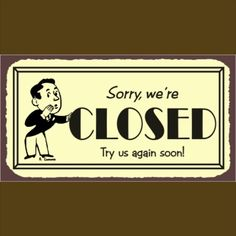 We will be closed tomorrow Sunday August 17th! Sorry for any inconvenience, we will be open again on Tuesday!