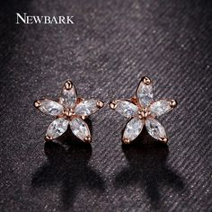US $2.12 NEWBARK 18K Rose Gold Plated Earrings Delicate 5pcs CZ Flower Stud Earrings Fashion Jewelry Valentine's Day Gifts aliexpress.com