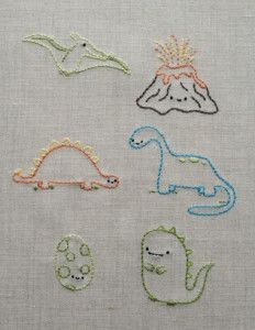 Adorable embroidery projects from the upcoming Stitch Love Simple Embroidery Designs, Floral Embroidery Patterns, Embroidery On Clothes, Hand Embroidery Patterns, Diy Embroidery, Cross Stitch Embroidery, Embroidery Stitches Tutorial, Broderie Simple, Dinosaurs