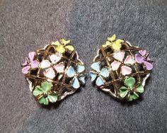 Goldtone Clip Earrings Multicolored Enamel by KhatsVintageJewels