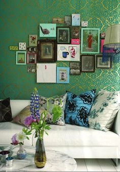 Designers Guild Emerald Green and Gold Damask wallpaper