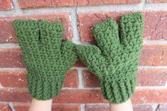 (4) Name: 'Crocheting : Turtle/Minion/Alien 3 Finger Gloves