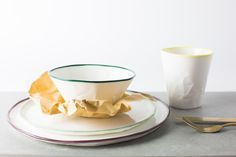 Product styling and photography of Hayden Youlley's handcrafted plates, bowl and cup for Coolfoodstuff. Styled with brown paper and cutlery Brown Paper, Cutlery, Plates, Tableware, Photography, Fotografie, Plate, Dinnerware, Photograph