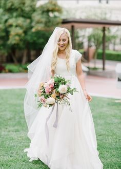 modest wedding dress with cap sleeves from alta moda. -- (modest bridal gown) Photo by Heather Nan