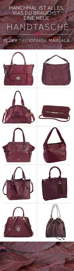 Manchmal ist alles, was du brauchst, eine neue Handtasche.  Elegante Clutch, klassische Handtasche oder geräumiger Umhänge-Shopper –  mal ehrlich, Mädels: Ohne unsere geliebten Handtaschen wären wir in vielen Situationen einfach aufgeschmissen. Und genau das ist auch der Grund, warum  wir davon immer genug Exemplare zuhause haben sollten. Hier kommen schon  mal ein paar angesagte Anregungen in der Trendfarbe des Jahres: Marsala! Nur entscheiden müsst ihr euch noch selbst …