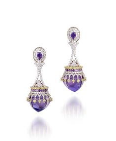Farah Khan Hoop earrings set with various shades of tourmalines, accented with diamonds