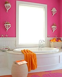 Pink bedroom with decorative coastal wall sconce shelves: http://www.completely-coastal.com/2016/04/wall-treatment-ideas-for-bathroom.html