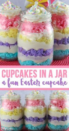 Springtime Cupcake in a Jar Springtime Cupcake in a Jar - featuring colorful cake layers and delicious Buttercream Frosting is a unique take on cupcakes and a great Easter dessert. The Easter Treat is Desserts Ostern, Köstliche Desserts, Holiday Desserts, Holiday Baking, Holiday Treats, Holiday Recipes, Delicious Desserts, Spring Desserts, Bon Dessert