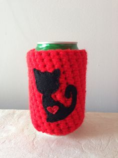 Black Cat Cozy in Bright Red for a Cat Lover, Crochet Beer Koozie, Reusable Crochet Coffee Sleeve, Coffee Cup Cozy by Maroozi by Maroozi on Etsy