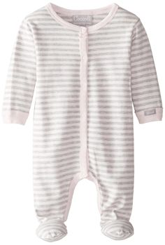 Coccoli Baby-Girls Newborn Striped Comfortable Footie, Pink, 6 Months