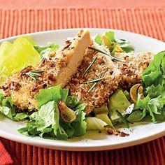 Low-Calorie Spring Menus  | Walnut and Rosemary Oven-Fried Chicken Menu | MyRecipes.com