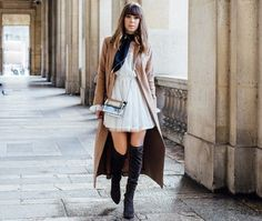 silk-scarf-with-chic-dress-and-camel-coat