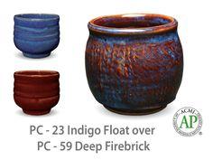 AMACO Potter's Choice layered glazes PC-59 Deep Firebrick and PC-23 Indigo Float.