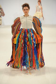 Salford University's Becca Lydon saw a rainbow of scribbling plaits, ties and knots across her final collection for #GFW - noticing a future-folk feel.