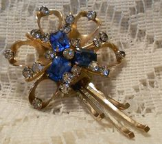 Vintage Gold Tone Brooch Pendant with Blue & Clear Rhinestones Signed Scitarelli via Etsy