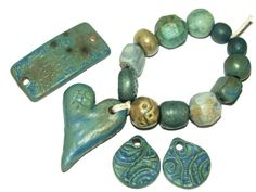 Set of 12 Handmade Ceramic Stoneware Beads Textured by Grubbi, £13.00