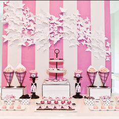 Pink and white stripes for dessert table