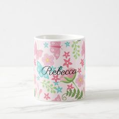 Pretty Floral Garden Theme Pattern Personalized Coffee Mug - floral gifts flower flowers gift ideas
