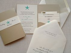 Starfish Beach Wedding Invitation Pocket by LBDesignsbyCO on Etsy - like those colours and lay out of the invitaition - maybe could have palm tree up top or as shadow in background