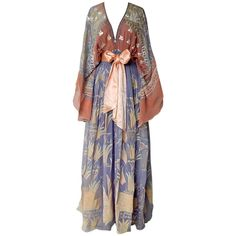 """1971 Zandra Rhodes """"Japan and Lovely Lilies"""" Collection Maxi Dress w/Belt 