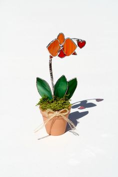 Orange Stained Glass Suncatcher Orchid Decorative by GalaGardens, $24.50