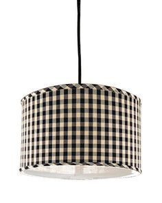 Black and white checked pendant lamp