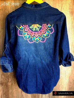 Denim Jacket Embroidery, Basic Embroidery Stitches, Embroidery On Clothes, Embroidery Fashion, Embroidered Jacket, Hand Embroidery Designs, Embroidery Ideas, Sewing Clothes, Diy Clothes