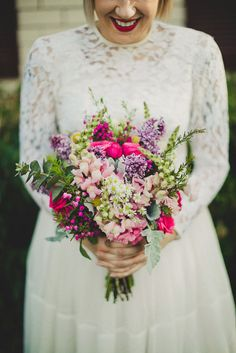 Vibrant hot pink bouquet. So pretty!