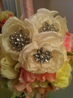 My DIY Fabric Flowers for Use in My Brooch Bouquets :  wedding bouquet brooch diy flowers futuremrsacarpenter broochbeautifl ivory Fabric Flowers