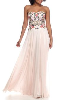 Xscape Strapless Floral Embroidered Bustier Chiffon Gown