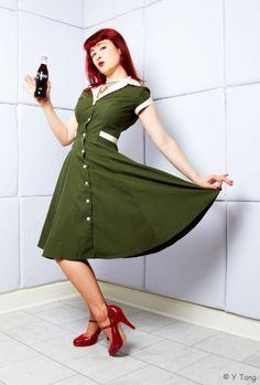 Heartbreaker Fashion Olive Diner Dress - Appealing Apparel: Price: $106.00