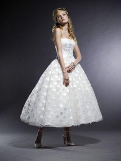 TEA length wedding dress / Swiss dot tea length wedding gown