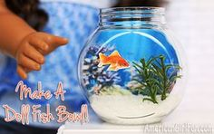 How to make a fish bowl for American Girl dolls! (Click through for tutorial) How to make a fish bowl for American Girl dolls! (Click through for tutorial) American Girl House, American Girl Crafts, American Girls, American Girl Doll Pets, Ag Doll Crafts, Diy Doll, Starbucks Frappuccino, Crafts For Girls, Diy For Girls
