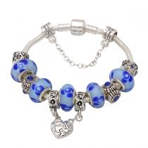 Mothers day gift! Blue murano glass beads mother daughter dangle charm beads European bracelet