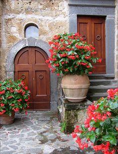 Flowers down a lane in Civita di Bagnoregio, Italy.