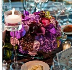 Purple Floral Centrepieces