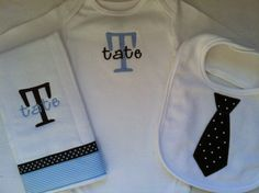 Baby Boy Gift Set  Personalized Onesie Burp Cloth and by LCBags, $30.00