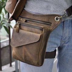 New Men's Genuine Leather Messenger Shoulder Bag Travel Motorcycle Riding Fanny Pack Waist Thigh Drop Leg Bag