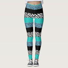 Shop Animal Print, Zebra Stripes, Leopard Spots - Blue Leggings created by sitnica. Crazy Leggings, Green Leggings, Winter Leggings, Print Leggings, Christmas Tights, Christmas Leggings, Snowflake Leggings, Overalls Women, Leopard Spots