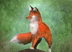 Original Beautiful Acrylic Painting Of a Ginger Forest Fox