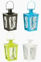 Super cute Battery Operated Metal Mini Lanterns! These look great at outdoor parties and set the perfect mood for summer-fun. The green is my favorite!