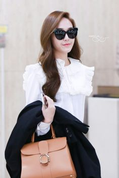 ( 151031 ) Gimpo Airport from BeiJing. Snsd Fashion, Korean Fashion, Celebrity Dresses, Celebrity Style, Jessica Jung Fashion, Taeyeon Jessica, Krystal Jung, Girls Generation, Her Style