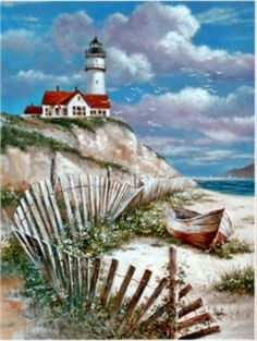 This counted cross stitch pattern of a Lighthouse and Beach Scene was designed from the beautiful artwork of T. Original image copyright of T. Chiu and Cypress Fine Art Licensing. Only full cross stitches are used in this pattern. Watercolor Landscape, Landscape Paintings, Framed Art Prints, Fine Art Prints, Lighthouse Painting, Lighthouse Pictures, Cross Stitch Landscape, Diamond Art, Cross Paintings